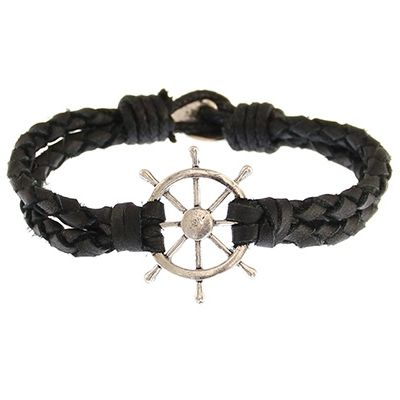Icon Brand Wheel Thing Bracelet LE1236-BR-BLK