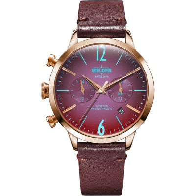 Welder The Moody 38mm Dual Time Unisex horloge Rood K55/WWRC103