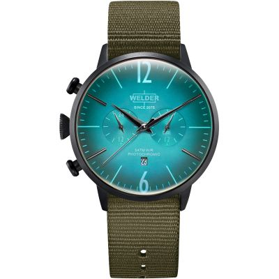 Welder The Moody 45mm Dual Time Unisex horloge Groen K55/WWRC502