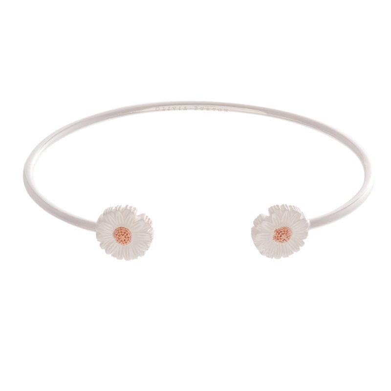 3D Daisy Open Ended Silver & Rose Gold Bangle OBJ16DAB10
