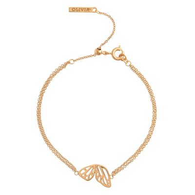 Ladies Olivia Burton Rose Gold Plated Butterfly Wing Chain Bracelet OBJ16EBB01