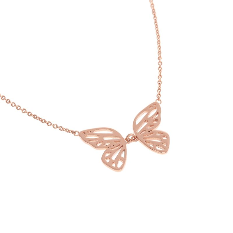 Butterfly Wing Rose Gold Necklace OBJ16EBN05