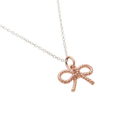 Ladies Olivia Burton Rose Gold Plated Vintage Bow Charm Necklace OBJ16VBN24