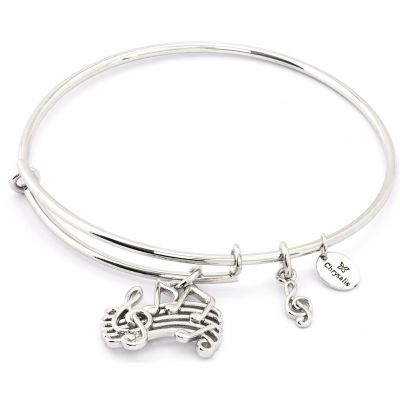 Ladies Chrysalis Silver Plated Spirited Music Expandable Bangle CRBT1208SP