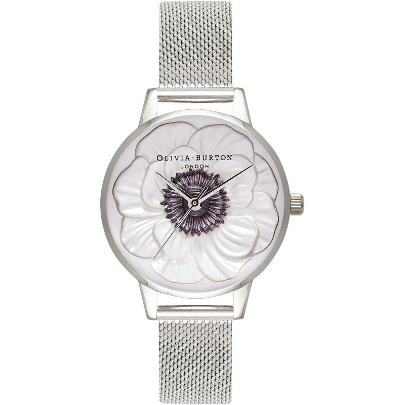 3D Anemone Silver Mesh Watch OB16AN01 for £155