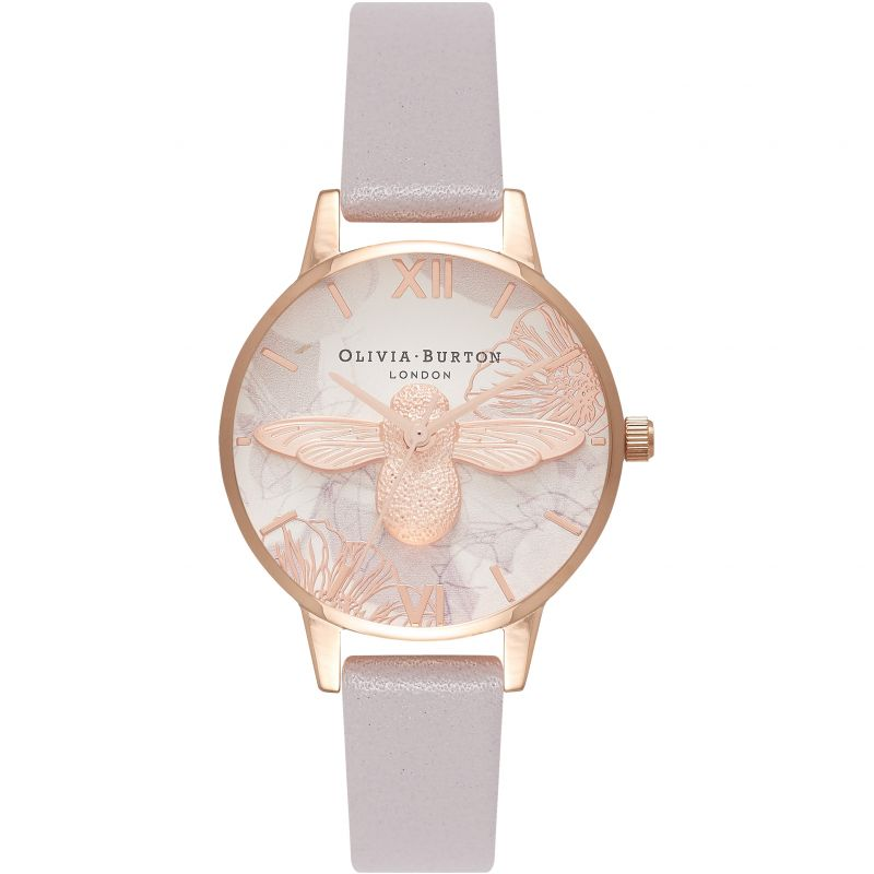 Abstract Florals 3D Bee Rose Gold  & Grey Lilac Watch