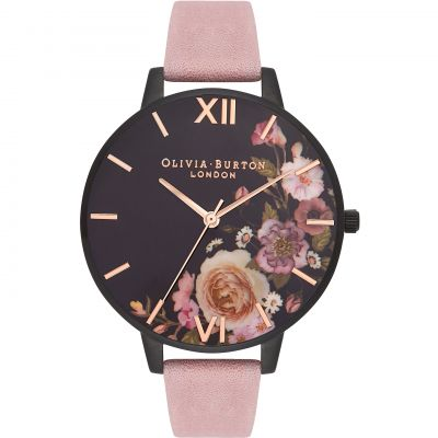 Montre Femme Olivia Burton After Dark Ip Black & Rose Suede OB16AD26