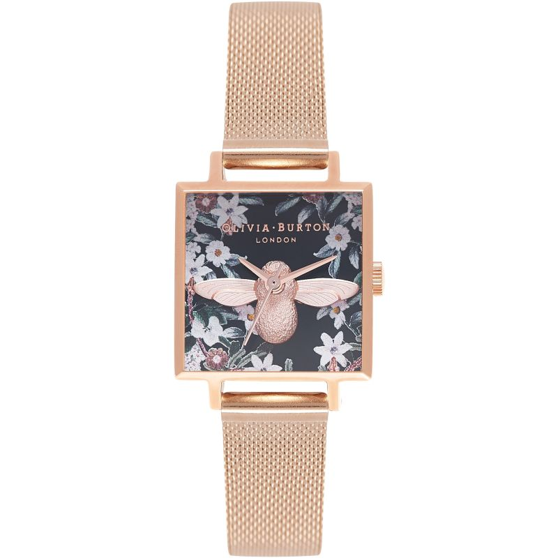Square Dial 3D Bee Rose Gold Mesh Watch