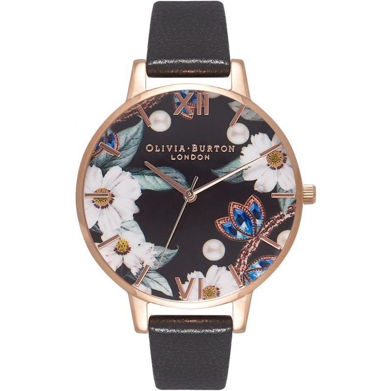 Bejewelled Florals Black & Rose Gold Watch OB16BF04 for £82