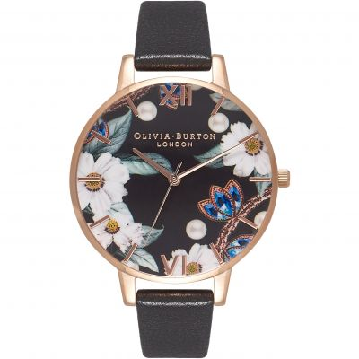 Montre Femme Olivia Burton White Dial Big Dial Rose Gold & Black OB16BF04