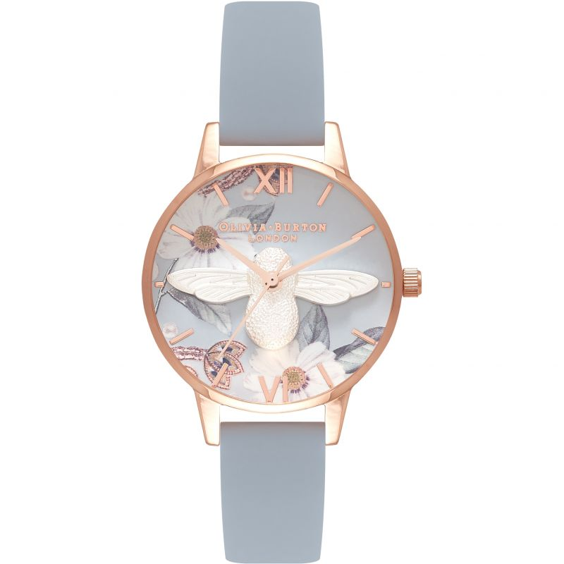 Bejewelled Florals Blue Bee Chalk Blue & Rose Gold Watch