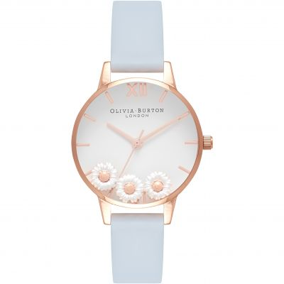 Dancing Daisy Chalk Blue & Rose Gold Watch