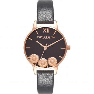 Dancing Daisy Rose Gold & Black Watch