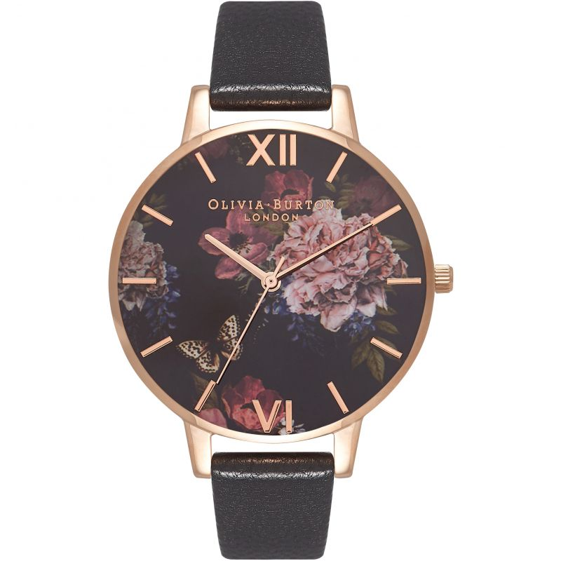 Dark Bouquet Rose Gold & Black Watch OB16WG42 for £82