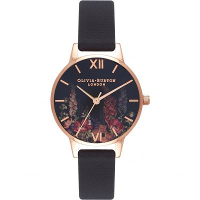 Montre Femme Olivia Burton Dark Bouquet Rose Gold & Black OB16WG43