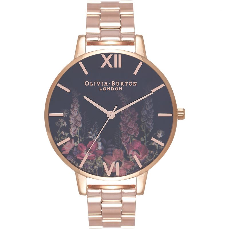 Dark Bouquet Black Rose Gold Bracelet Watch
