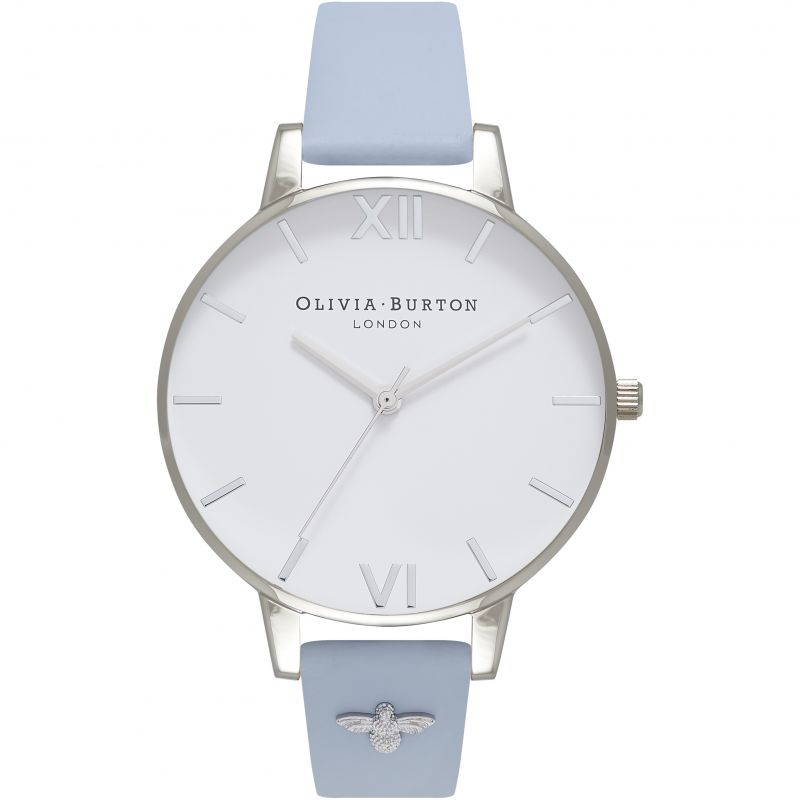 Embellished Strap Silver & Chalk Blue Watch