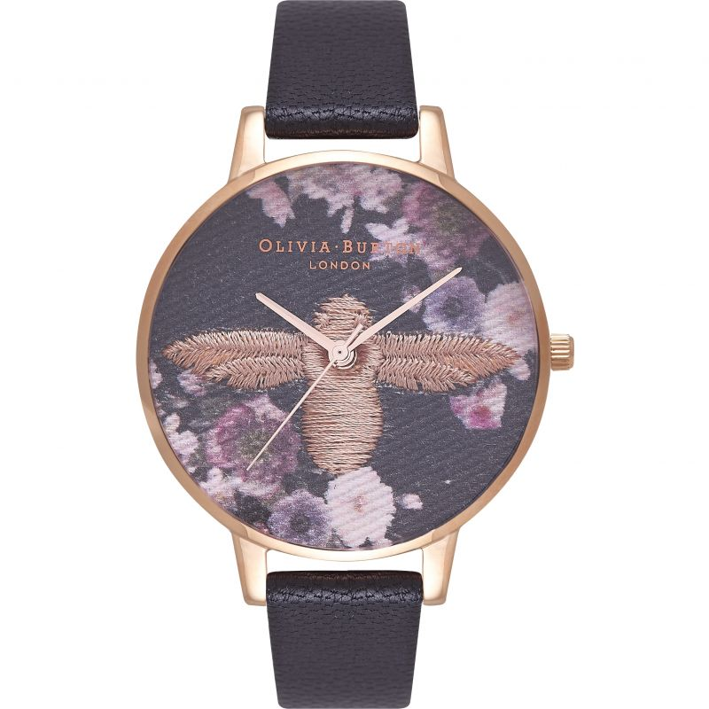 Embroidered Dial Black Bee Gold & Black Watch