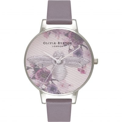 Olivia Burton Embroidered Dial Embroidered Dial Rose Gold & London Grey Damenuhr in Grau OB16EM05