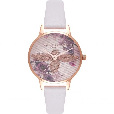 Olivia Burton Embroidered Dial Embroidered Dial Silver & Blush Damenuhr in Grauweiß OB16EM06
