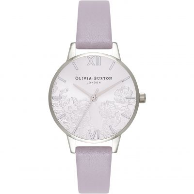 Lace Detail Silver  & Grey Lilac Watch