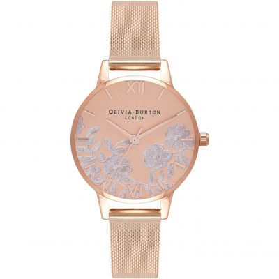 Montre Femme Olivia Burton Lace Detail Silver & Rose Gold OB16MV77