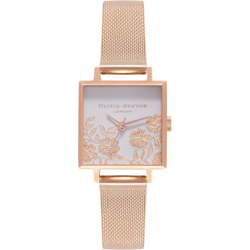 Lace Detail Grey Lilac & Rose Gold Watch