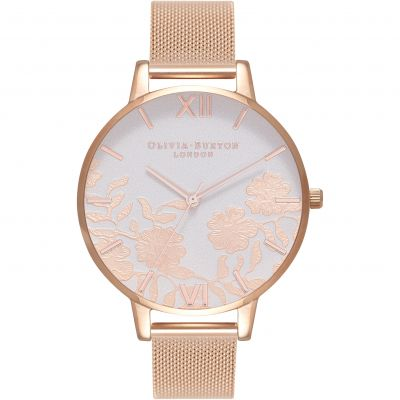 Lace Detail Rose Gold Mesh Watch