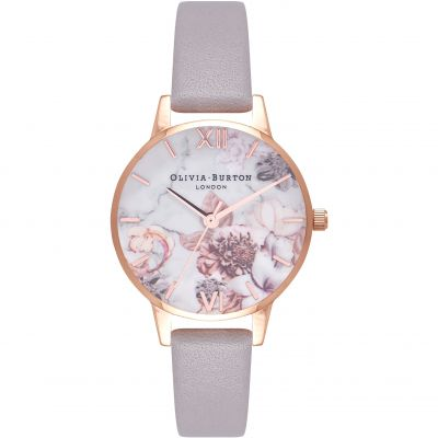 Marble Florals Rose Gold & Grey Lilac Watch