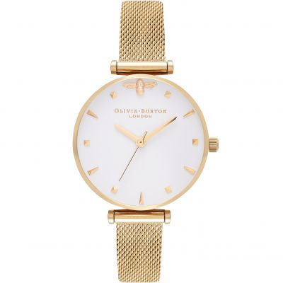 Queen Bee White Gold Mesh Watch