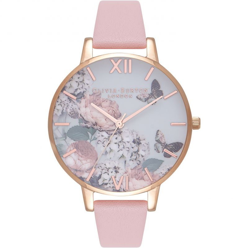 Signature Floral Dusty Pink & Rose Gold Watch OB16WG40 for £82