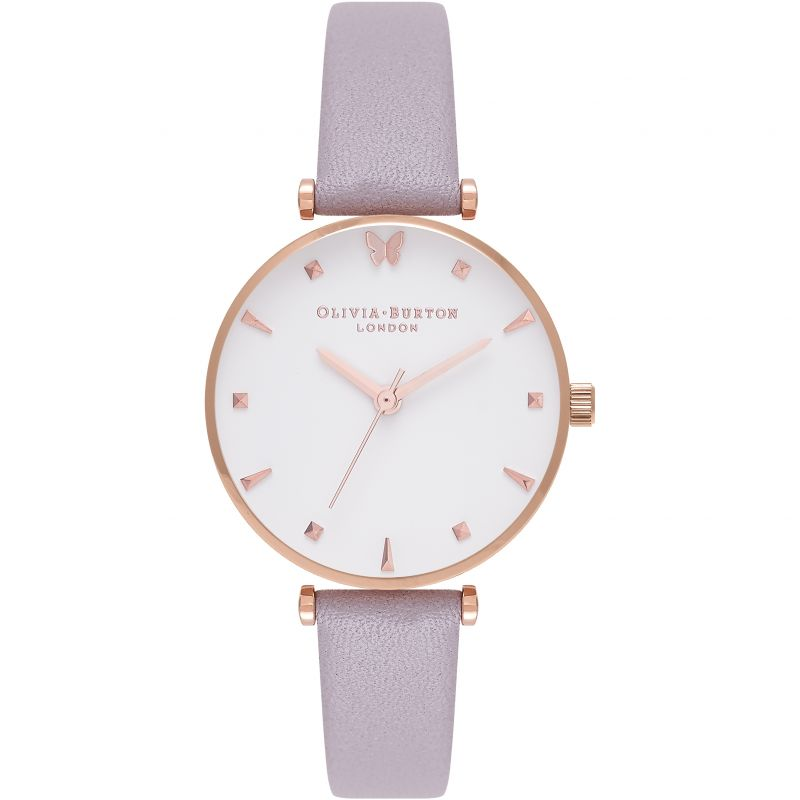 Socail Butterfly Rose Gold & Grey Lilac Watch