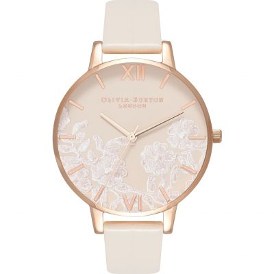 Montre Femme Olivia Burton Lace Detail Rose Gold & Vegan Nude OB16MV80