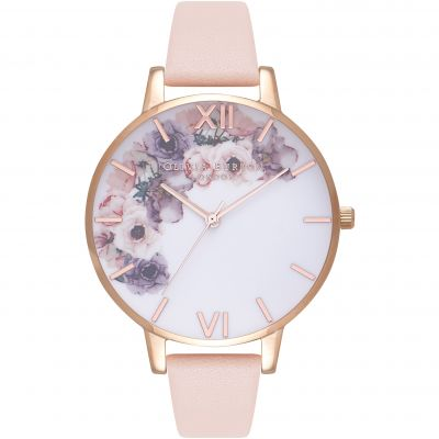 Watercolour Florals Rose Gold & Nude Peach Watch