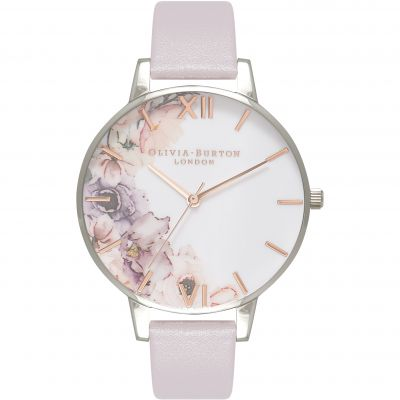 Olivia Burton Watercolour Florals Watercolour Florals Rose Gold Silver & Grey Lilac Damenuhr in Lilac OB16PP32