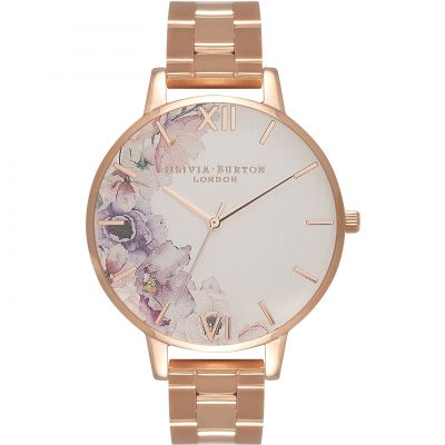 Watercolour Florals Rose Gold Bracelet Watch
