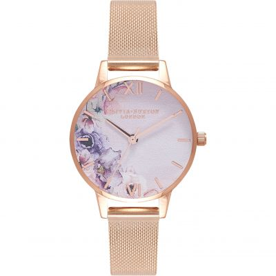 Olivia Burton Watercolour Florals Watercolour Florals Rose Gold & Rose Gold Damenuhr in Rosegold OB16PP39