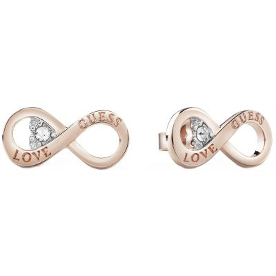 Guess Dames Endless Love Stud Earrings Verguld Rose Goud UBE85011