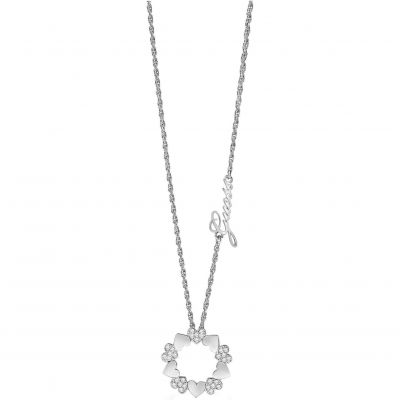 Ladies Guess Heart Bouquet Silver Necklace