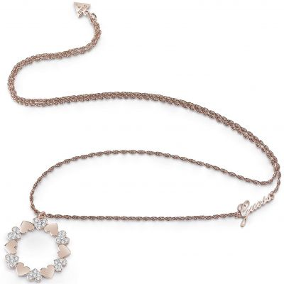 Guess Dames Heart Bouquet Necklace Verguld Rose Goud UBN85049