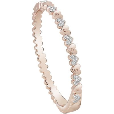 Ladies Guess Heart Bouquet Rose Gold Bracelet