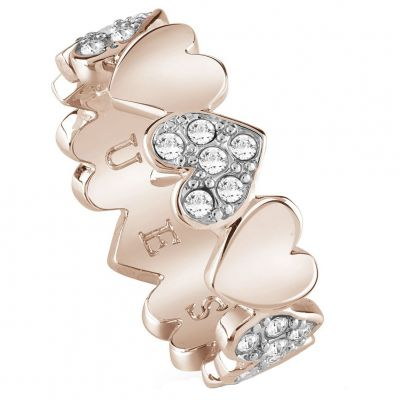 Guess Dames Heart Bouquet Ring Verguld Rose Goud UBR85025-54