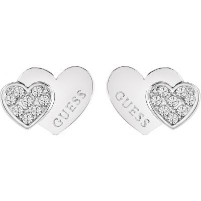 Ladies Guess Me & You Silver Earrings