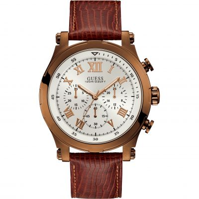 GUESS Gents copper chronograph watch with sable leather strap