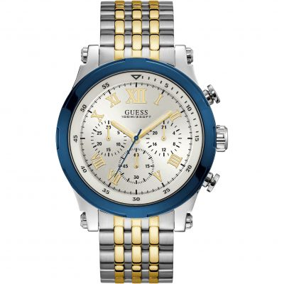 GUESS Gents silver and gold chronograph watch with blue trim