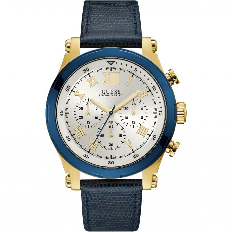 GUESS Gents gold chrono watch with blue trim & leather strap
