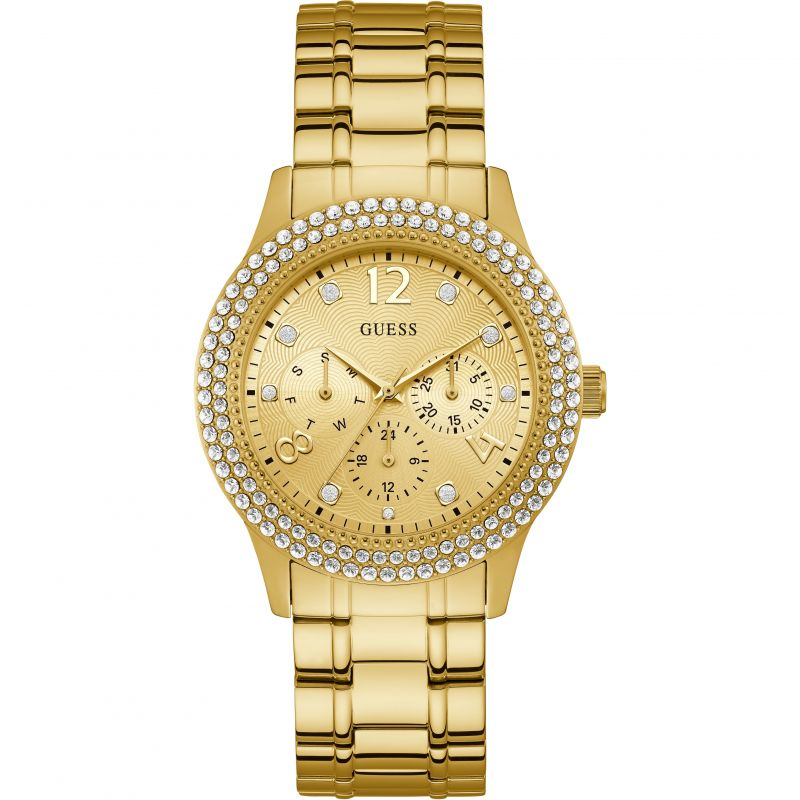 GUESS Ladies gold watch with crystals & multifunction dial