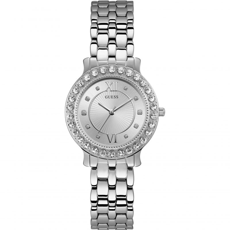 GUESS Ladies silver watch with crystals
