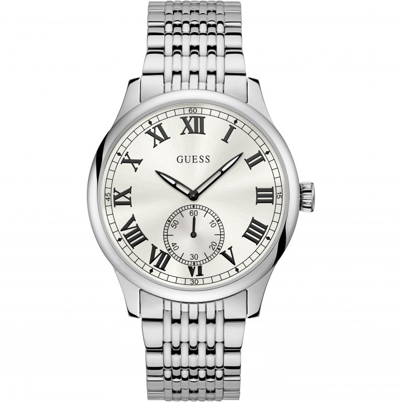 GUESS Gents silver watch with sunray white dial