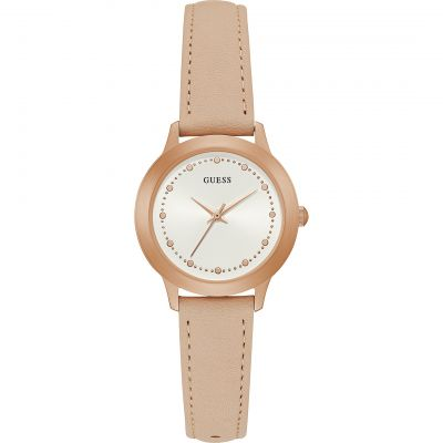 GUESS Ladies rose gold watch with nude smooth leather strap